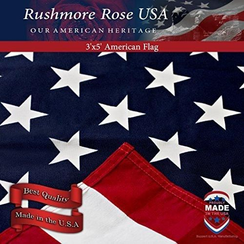 American Flag: 100% Made in USA. Home & Garden 3x5 ft Cotton US Flag - Indoor / Outdoor - Patriotic Flag for All Occasions