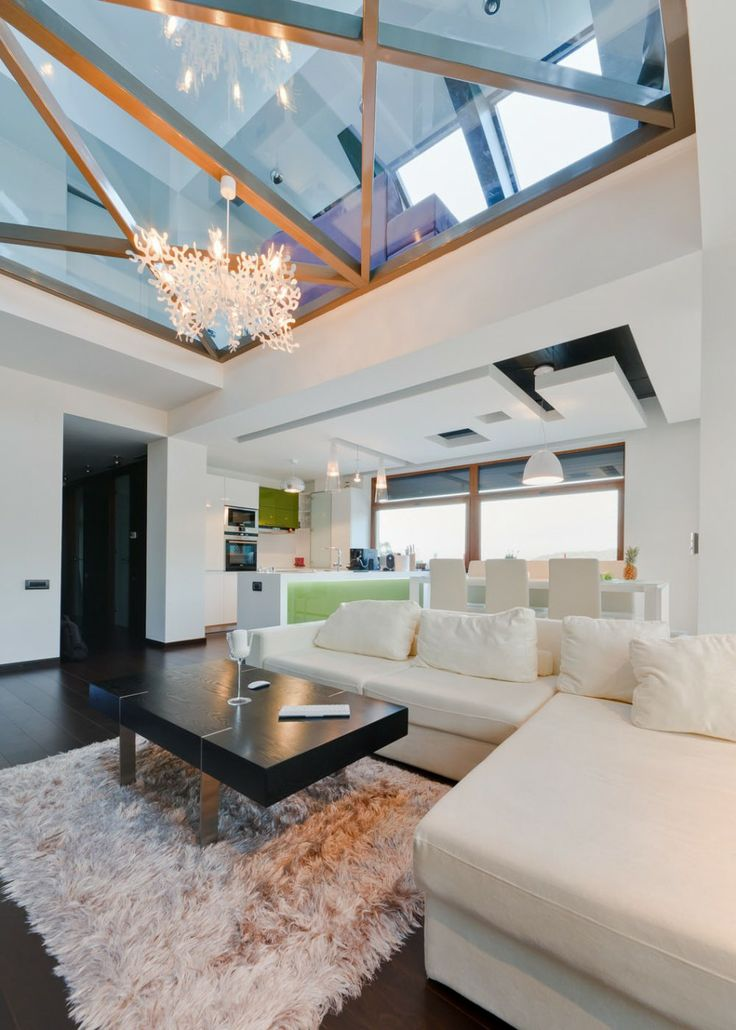 Apartments, Architecture Apartment Interior Design Living Room Transparent Loft Sofa Cushions Fur Rug Coffee Table Chandelier Kitchen Pendan...