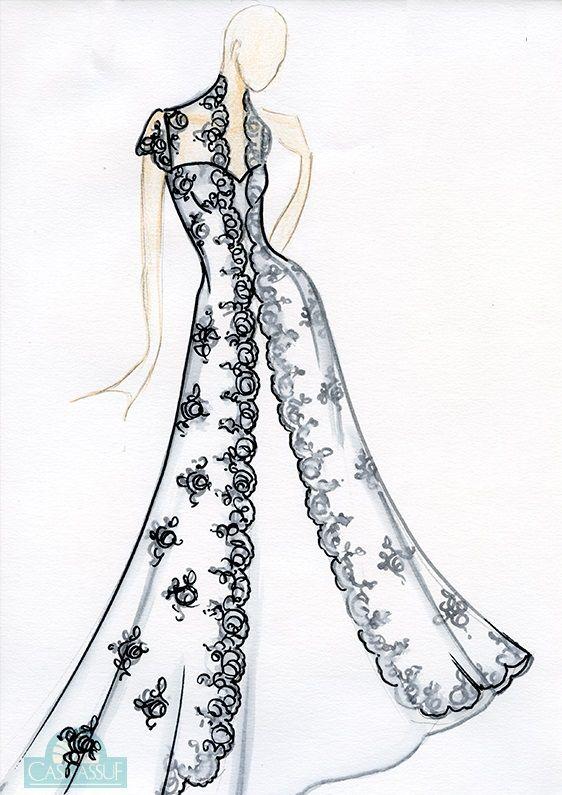 Vestido de noiva: corpo em formato maça - Croqui por Casa Assuf