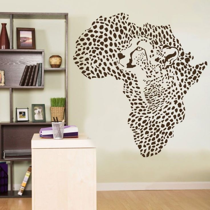 Wild African Animal Leopard Cheetah Wall Decal Vinyl Art Decor Sticker 56X60cm Wall Stickers For Kids Room Adesivo de parede 687