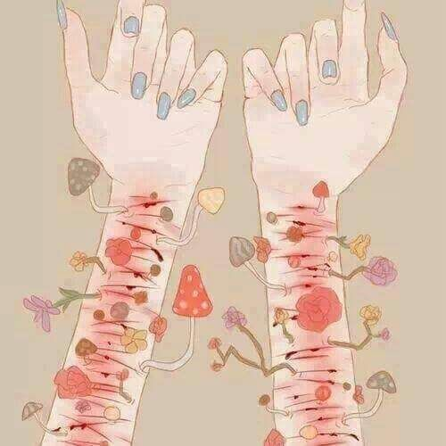 stop. cutting yourself is not ok, nor is it beautiful. stop.