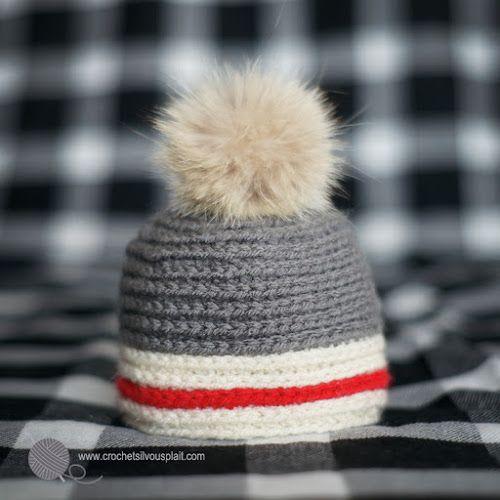 Tuque pour bébé au crochet, style bas de laine, Sock monkey style baby hat, crochet beanie https://www.etsy.com/ca/shop/CrochetSVPetplus?ref=hdr_shop_menu