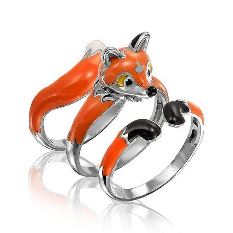 Fox ring animal ring fox jewerly accessories sterling silver jewelry animal ring…