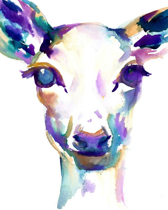 What A Deer by Jessica Buhman, Print of Original Watercolor Painting, Available in Multiple Sizes Deer Purple Blue Green Brown Doe