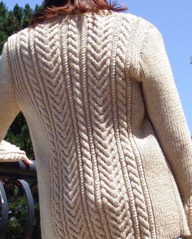 #1001 Cable Collection. Cardigan Back View. Pattern Available at www.knittingstation.com; www.woolhogs.co.za; www.ravelry.com
