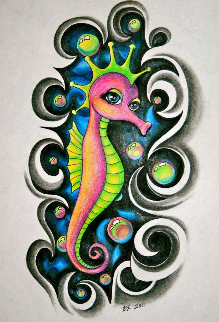 Felix murillo lleno de colores painting acrylic artwork fish art - Seahorse By Knezak