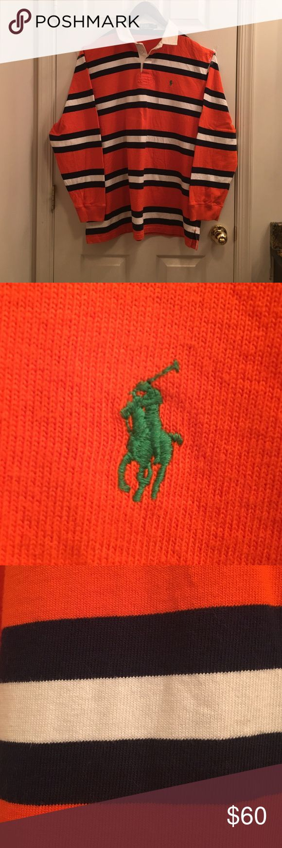Polo Ralph Lauren Men's Long Sleeve Rugby Shirt Like new gently worn long sleeve polo shirt in bold orange, navy blue and white stripes with contrasting green polo pony logo.  A great classic stylish top when paired with jeans. Polo by Ralph Lauren Shirts Polos