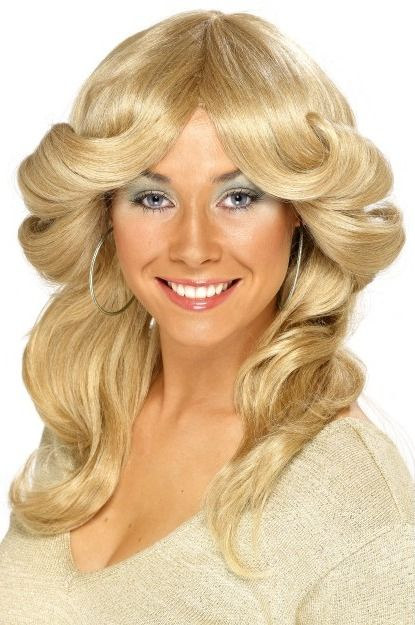 70s Long Layered Flick Abba Ladies Fancy Dress Wig - More Colours Available