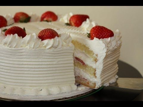 Learn how to make this simple home made yet elegant white cake with fresh whip cream and strawberries. The cake has no butter, no oil, yet it is moist and de...
