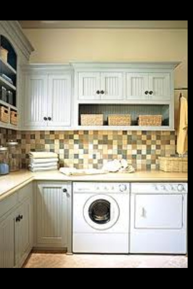 Great Backsplash and Nice Clean Color for Laundry Cupboards