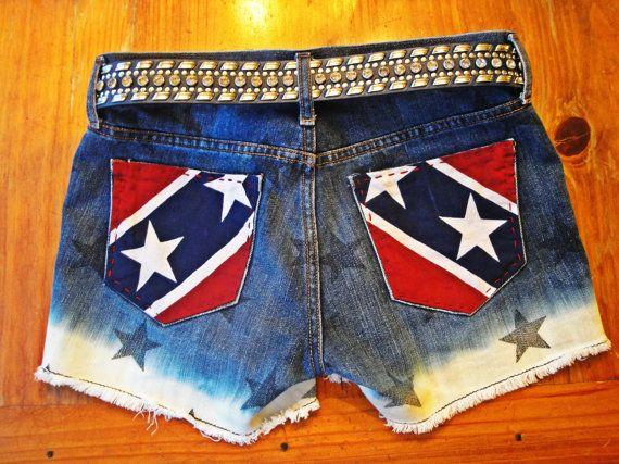 Rebel Flag Dip-Dyed Upcycled Patriotic Shorts