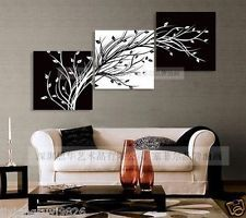 Modern Abstract Huge Wall Art Oil Painting On Canvas:black white TREE( no frame)