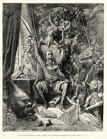 """Don Quixote goes mad from his reading of books of chivalry. Engraving by Gustave Doré."""
