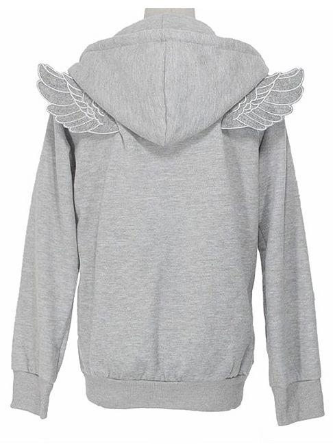 Grey Long Sleeve Angle Wings Pocket Zip Jacket - Fashion Clothing, Latest Street Fashion At Abaday.com