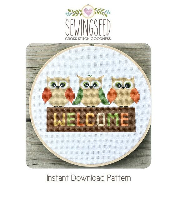 Owl Welcome Cross Stitch Pattern Instant Download door Sewingseed