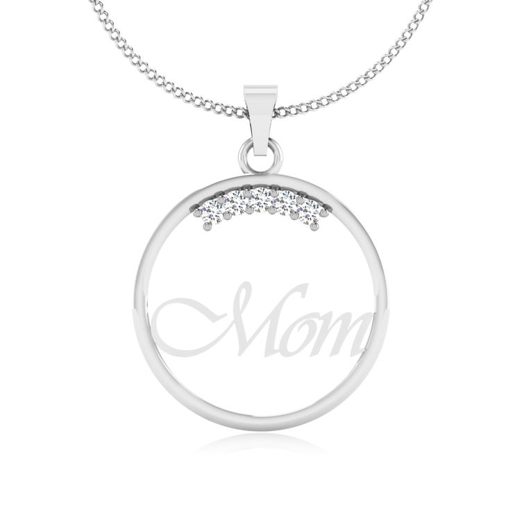 Show her your love on Mother's Day with a diamond heart round pendant.  #Mother #Pendant