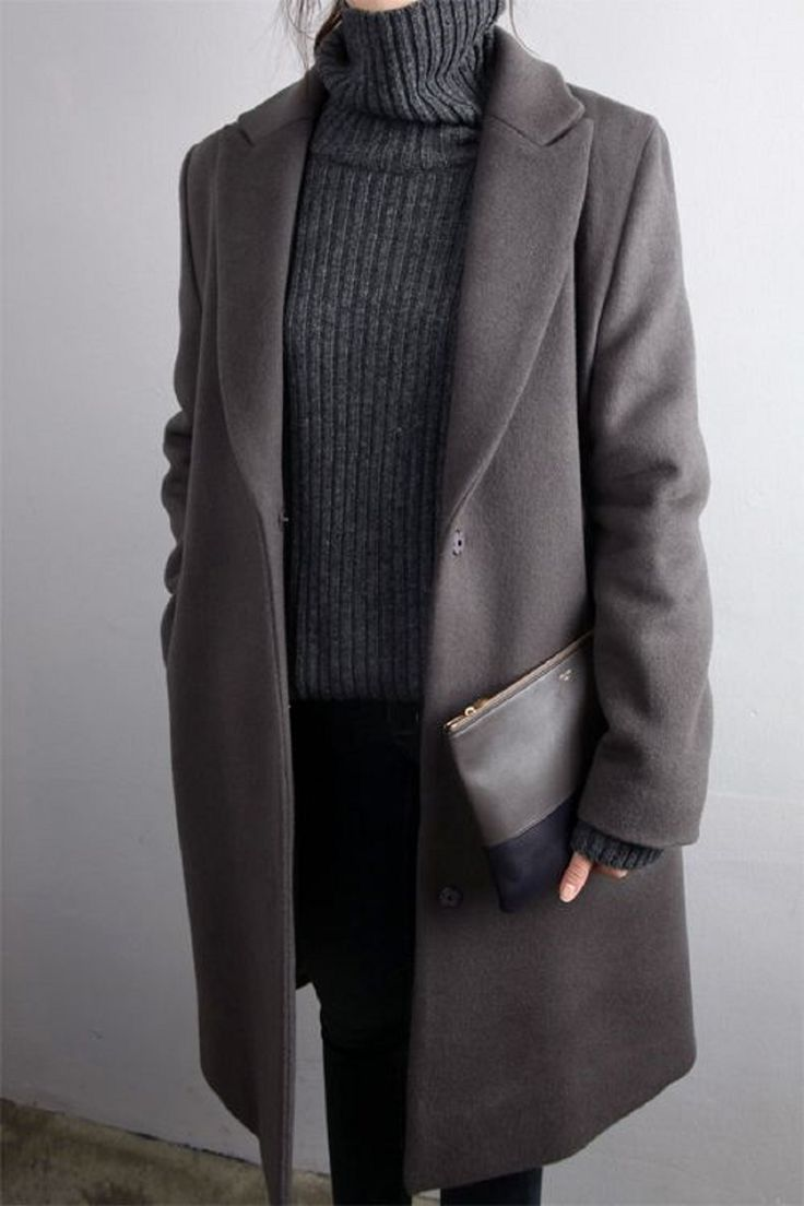 Slouchy turtleneck with an oversized coat - borrowed from the boys winter look