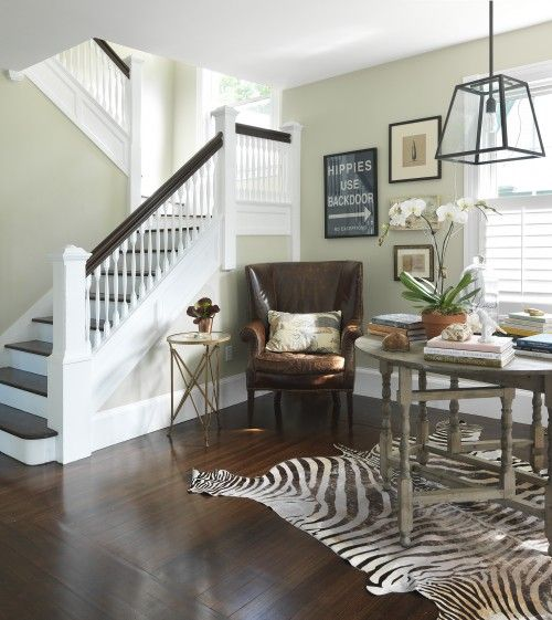 staircase: Wall Colors, Back Doors, Lights Fixtures, Traditional Stairca, Stairca Design, Zebras Rugs, Old Houses, Kate Jackson, Leather Chairs