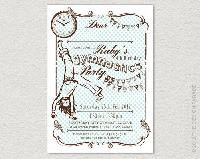 PRINTABLE Gymnastics Party Invitation. Retro, vintage inspired.. $19.00, via Etsy.: Printable Gymnastics, Kids Parties, Kids Gymnastic, Party Invitations, Gymnastics Party, Party Ideas, Retro Vintage, Vintage Inspired, Birthday Ideas