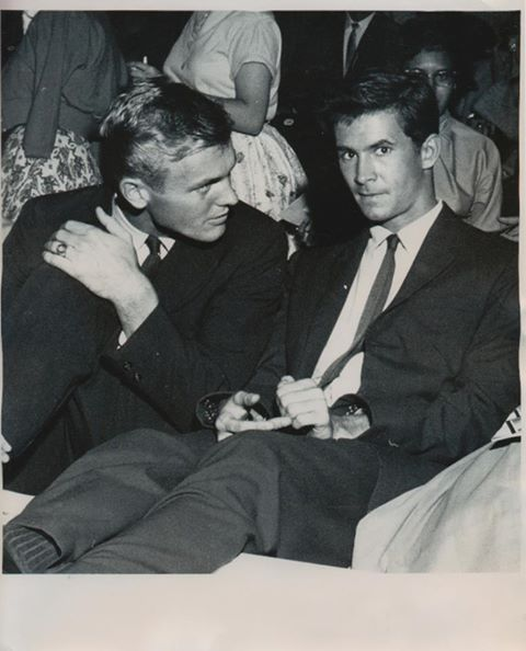 Tab Hunter & Anthony Perkins. Hitchcock new Perkins was gay, & used that feeling of being an outsider to advantage in PSYCHO. Vintage Gay couples have always been there (please follow minkshmink on pinterest)