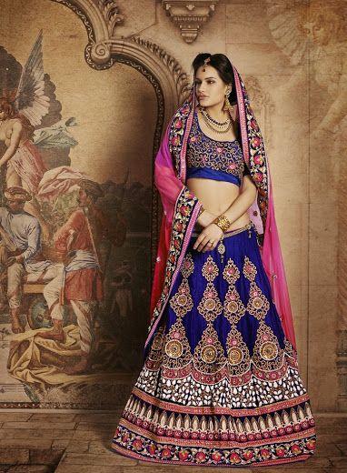 Buy Indiam ethnic designer bridal lehenga saree Online - Rs 11590