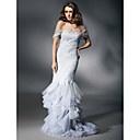 Satin Tulle Trumpet/ Mermaid Off-the-shoulder Floor-length Evening Dress inspired by Heidi Klum at Golden Globe - USD $ 199.99
