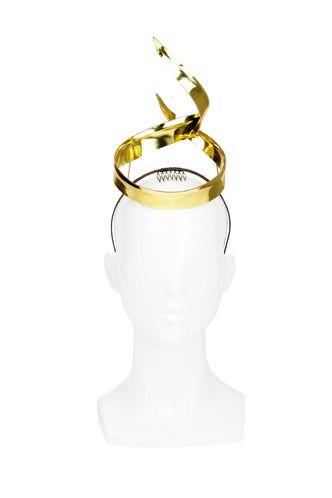 Bright shining gold leather ribbon crown on headband by Kim Wiebenga