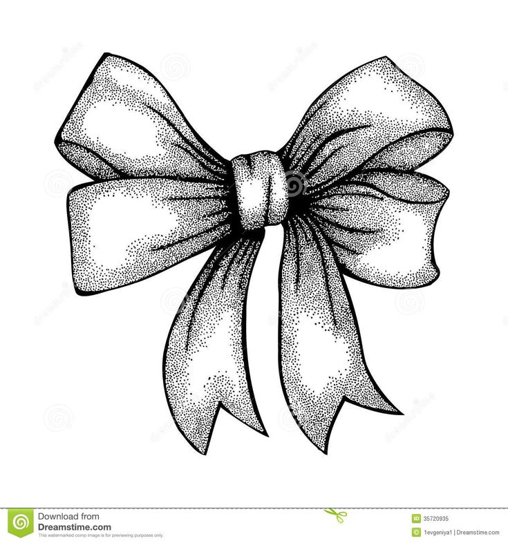Ribbon Bow Drawing | Beautiful ribbon tied in a bow. Freehand drawing in graphic style pen ...