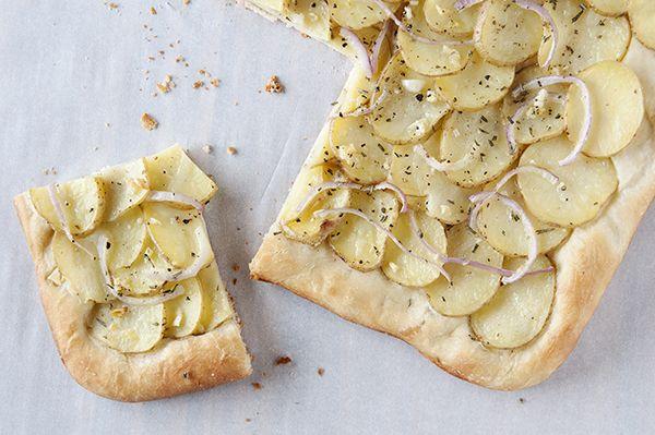 Vegan potato pizza, by This Homemade Life.  Yum, rosemary...