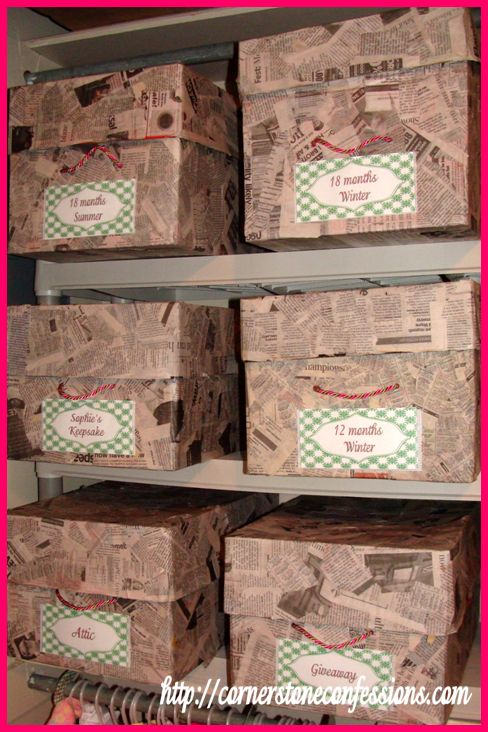 CHEAP Closet Organization Tips - paper mache storage box. can it get any cheaper then that?