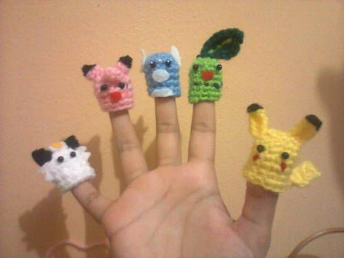 Pokemon crocheted finger puppets >>> I have to make some of these for my g'babie>>> I guess relearning to crochet is in my future