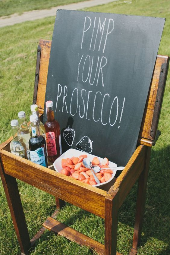 strawberries and cordial to prosecco / http://www.deerpearlflowers.com/chalkboard-wedding-ideas/