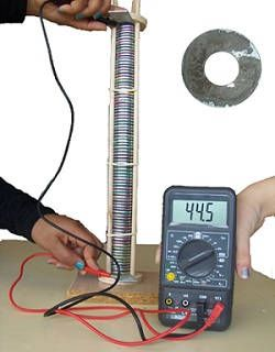 Photograph of a voltaic pile attached to a voltmeter.
