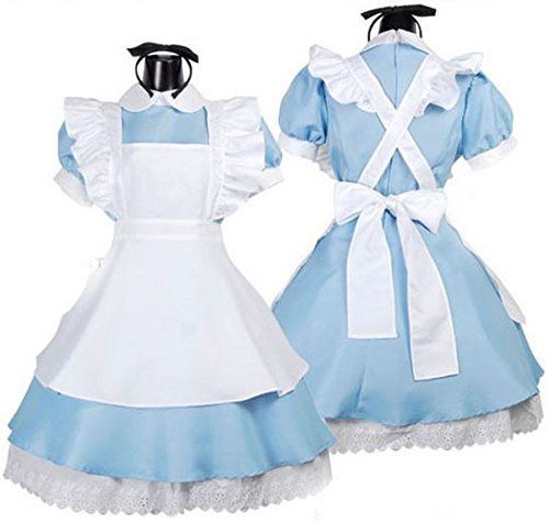 Free shipping Hot Sale Alice in Wonderland Costume Lolita Dress Maid Cosplay Fantasia Carnival Halloween Costumes for Women