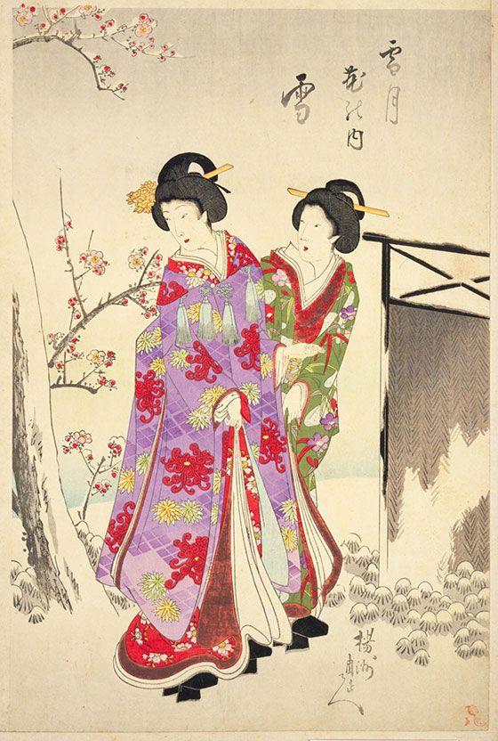 ☆錦絵で楽しむ四季の装い☆ 雪見のあで姿 | 錦絵, 日本画, 雪月花