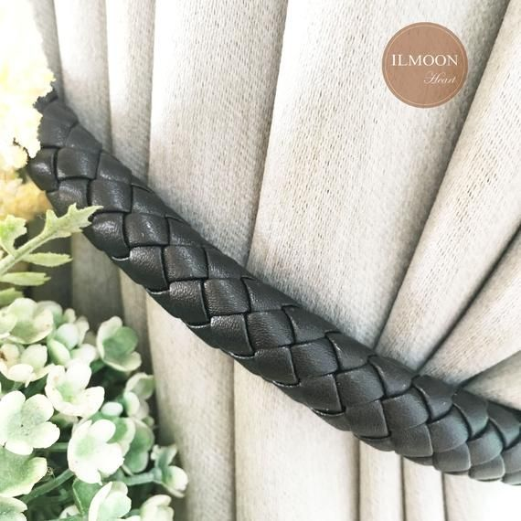 Leather Curtain Tie Backs Pair Black Decor Farmhouse Etsy