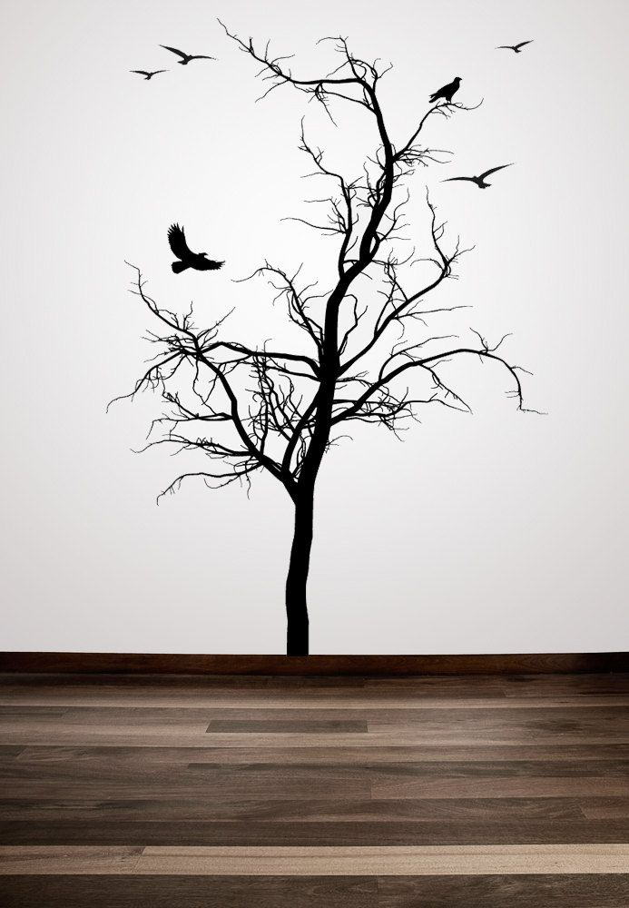 Winter Tree with Birds Decorative - Vinyl Wall Art Decal. $79.00, via Etsy.