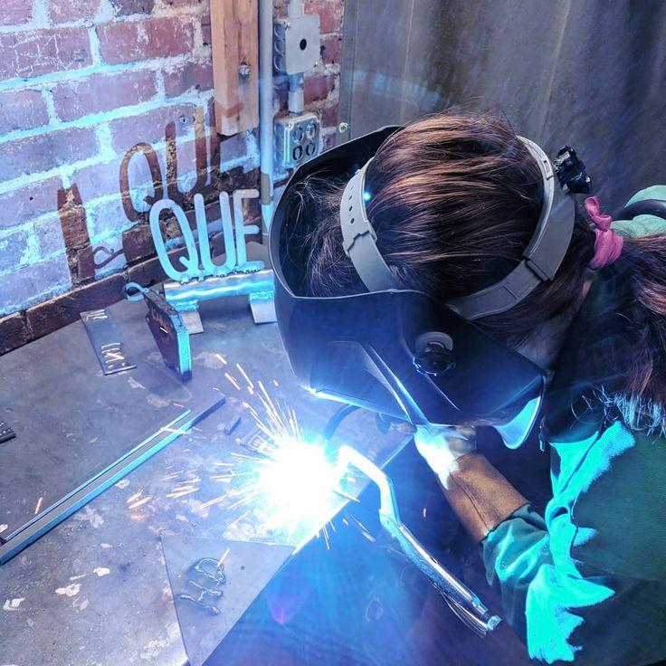 Best Valentine's present ever.... Welding class! Can see my art work in the corner! . . . . #welding #metal #metalart #shopclass #shine #rosietheriveter #girlpower #strongwomen #strong #fun #life #happy