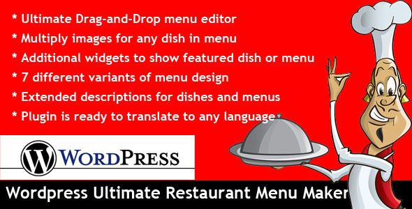 Wordpress Ultimate Restaurant Menu Maker . Wordpress Ultimate Restaurant Menu Maker allows you to create menus for your cooking / restaurant web