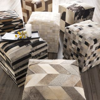 Shop for Cattle Range 18-inch Leather Cowhide Cube Pouf. Get free shipping at…