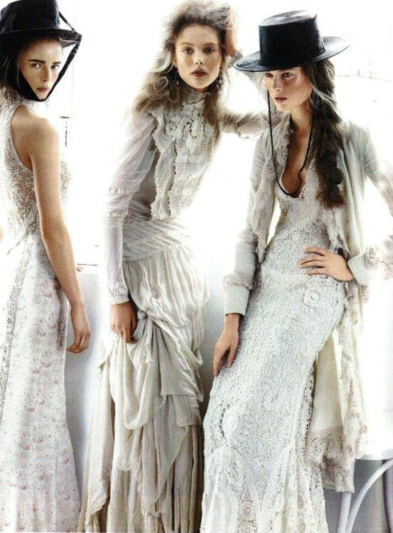Wedding dress | Vogue fashion editorial | White lace wedding gowns