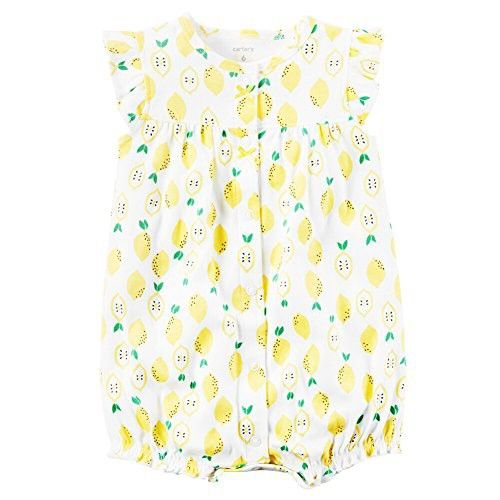 Carters Baby Girls Snap-Up Cotton Romper Lemon Print, White, 3M