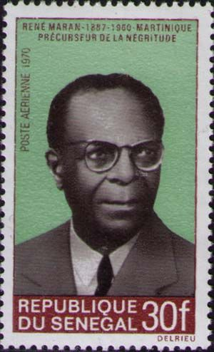 René Maran, de la serie de sellos Negros famosos, 1970