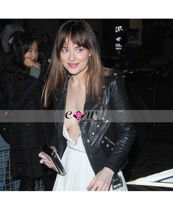 #FiftyShadesStar #DakotaJohnson #Studded #Black #Moto #Leather #Jacket
