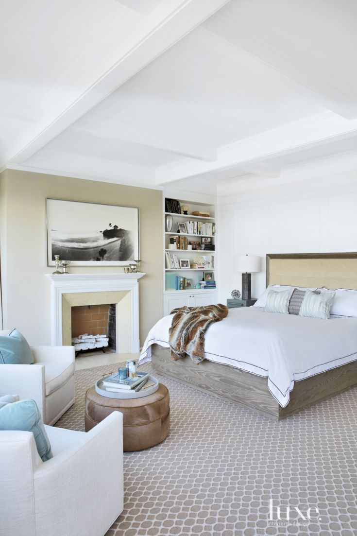 A Custom Bed By A Rudin Featuring A Headboard Upholstered With A Fabric From Holly Hunt Anchors The Master Bedroom A Pierre Frey Textile Covers A Rudin