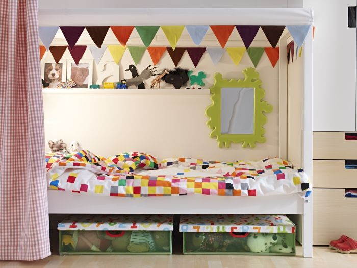 the ovre bed and flyga duvet cover provide the perfect space of their own with a