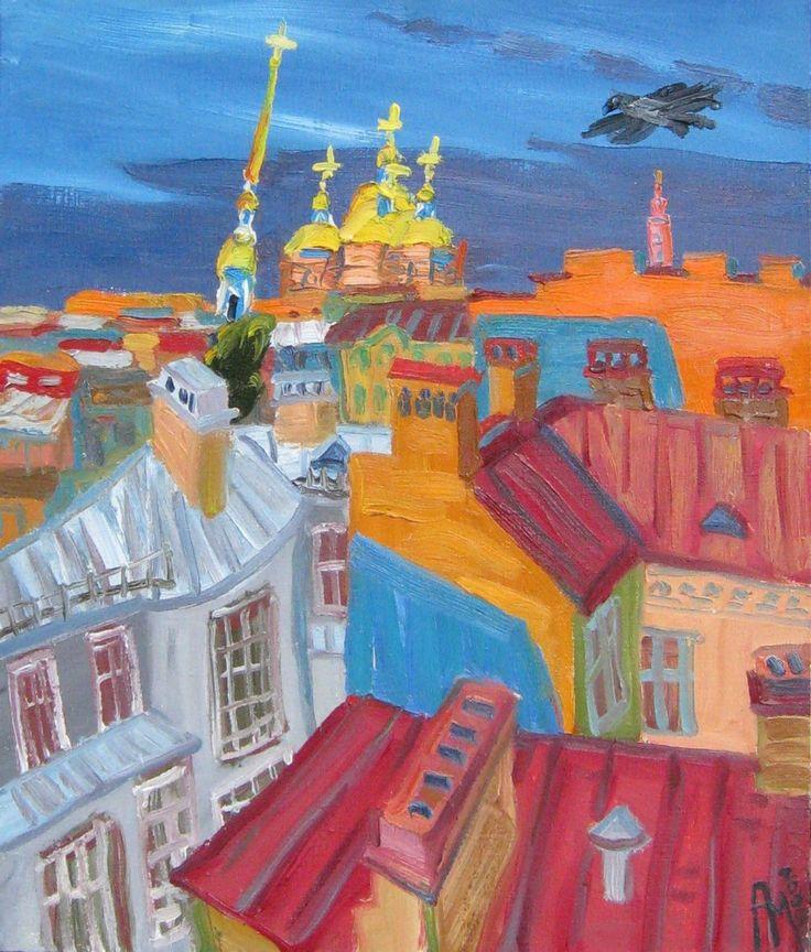 Saint Petersburg by Artur Molev_Артур Молев. Из мастерской после дождя. 2009.Х.,м.