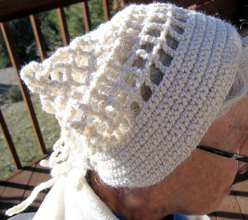 Crochet Hair Kerchief Pattern : pattern features a filet style body which is taught in the pattern ...