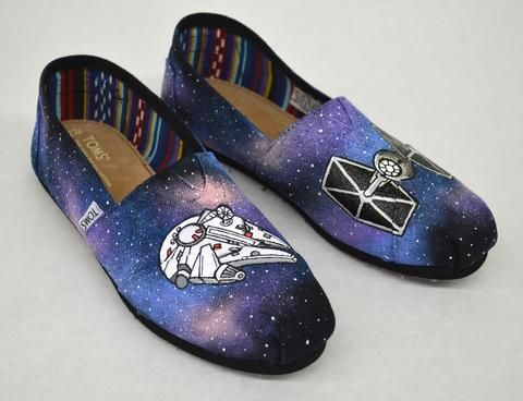 Millennium Falcon, Tie Fighter, Star Wars, Custom Sneakers, Star Wars Toms, Painted Shoes