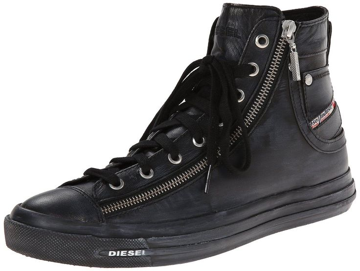 Diesel Expo Zip Black Womens Leather Hi Trainers Shoes -8. Diesel Expo-Zip Hi womens leather trainers, classic trainer stylle with zip on the side. A perfect pair of leather trainers.